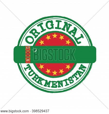 Vector Stamp Of Original Logo With Text Turkmenistan And Tying In The Middle With Nation Flag. Grung