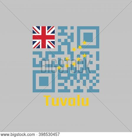 Qr Code Set The Color Of Tuvalu Flag. A Light Blue Ensign With The Map Of The Island Of Nine Yellow