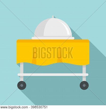 Room Service Cart Tray Icon. Flat Illustration Of Room Service Cart Tray Vector Icon For Web Design