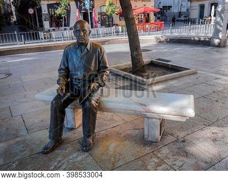 Malaga, Spain - November 27, 2018: The statue of Picasso in the Plaza de la Merced