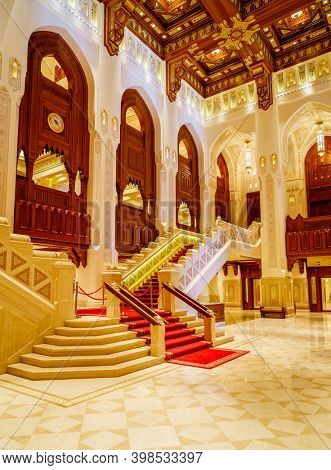 Muscat, Oman, December 3, 2016: Interior view of Royal Opera House  in Muscat, Oman. Entrance hall