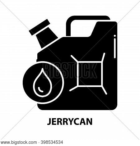Jerrycan Icon, Black Vector Sign With Editable Strokes, Concept Illustration