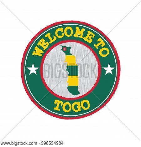 Vector Stamp Of Welcome To Togo With Map Outline Of The Nation In Center. Grunge Rubber Texture Stam
