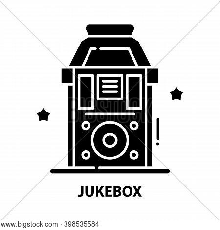 Jukebox Symbol Icon, Black Vector Sign With Editable Strokes, Concept Illustration