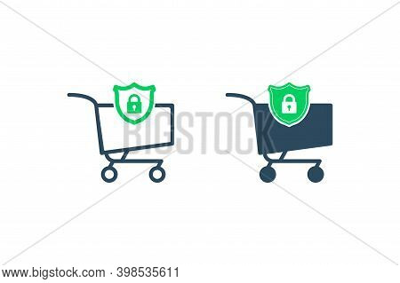 Protection Consumer Icon. Secure Purchase. Secure Ecommerce For Online Shopping. Cart Line And Shiel