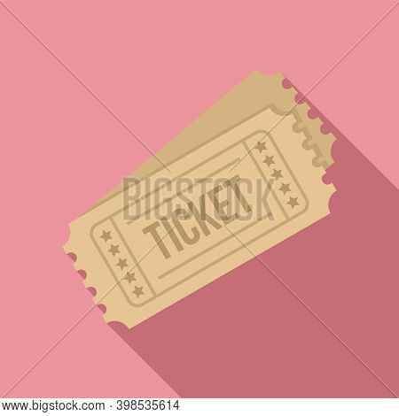 Cinema Tickets Icon. Flat Illustration Of Cinema Tickets Vector Icon For Web Design