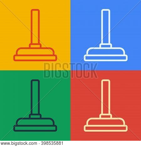 Pop Art Line Rubber Plunger With Wooden Handle For Pipe Cleaning Icon Isolated On Color Background.