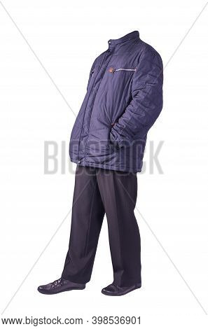 Mens Dark Blue Jacket , Black Pants And Black Leather Shoes Isolated On White Background. Mens Autum