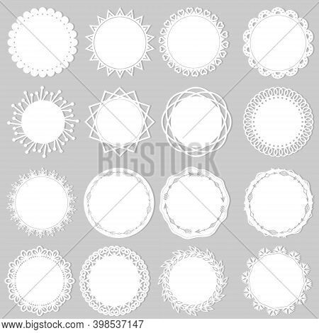 Set Of White Openwork Napkins, Vector Illustration, Paper Scrapbooking, Laser Cutting, Clipart, Desi