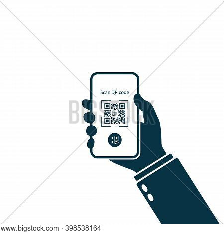 Mobile Application For Scanning Qr Code. Hand Holding Smartphone. Scan Qr Code Icon, Phone App, Barc