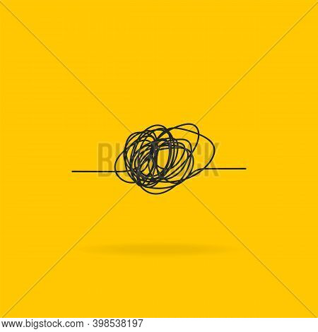 Chaos Icon. Ball Of Thread Line Icon With Scribble. Hand Drawn Scrawled Sketch. Tangled Ball Of Thre