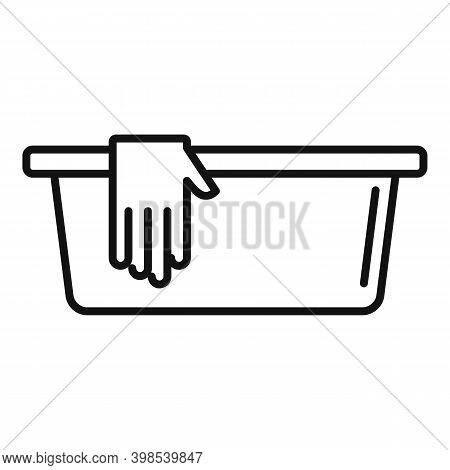 Cleaning Basin Gloves Icon. Outline Cleaning Basin Gloves Vector Icon For Web Design Isolated On Whi