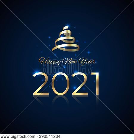 2021 New Year. Shiny Golden 2021 With Ribbon On Blue Background. Shiny Gold Logo. Holiday Greeting C