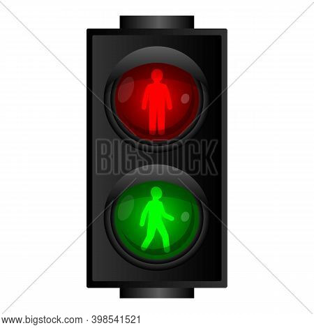 Pedestrian Traffic Lights Icon. Cartoon Of Pedestrian Traffic Lights Vector Icon For Web Design Isol