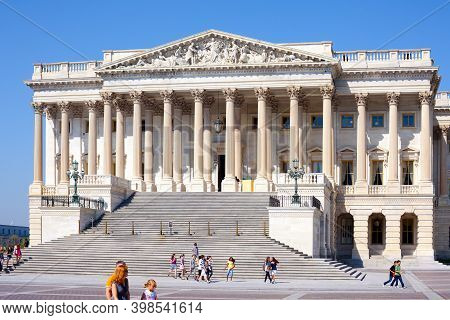 Washington D.c., United States - Tourist Visiting The U.s. Capitol Building, In Washington Dc.