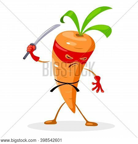 Superhero Vegetable With Sharp Sword And Eye Bandage, Angry Caricature With Weapon. Vector Veggie Ch