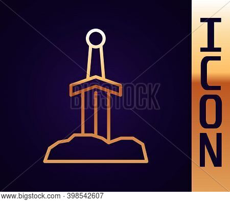 Gold Line Sword In The Stone Icon Isolated On Black Background. Excalibur The Sword In The Stone Fro