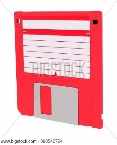 Red 3.5 Inch Compact Floppy Disk With Blank Label Isolated On A White Background