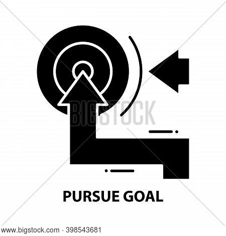 Pursue Goal Icon, Black Vector Sign With Editable Strokes, Concept Illustration