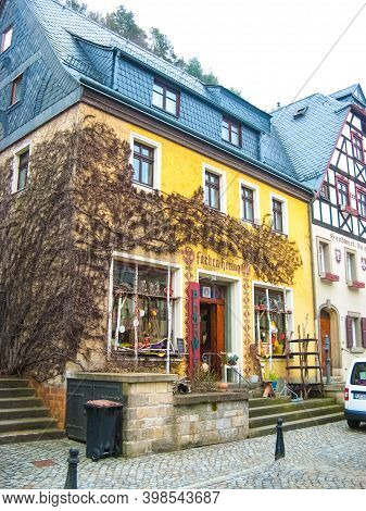 Rathen, Saxon Switzerland, Germany - March 26, 2018: The Street At Rathen , Saxon Switzerland, Germa