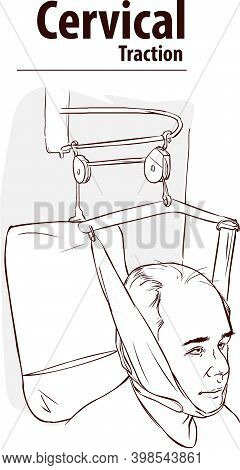 Man In Neck Traction Machine For Physiotherapy Vector Illustration