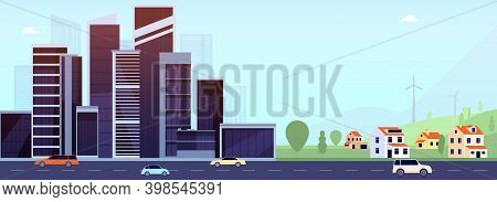 Downtown And Suburb. Flat City, Office Buildings Or Village. Smart Urban Cityscape On Road, Diverse