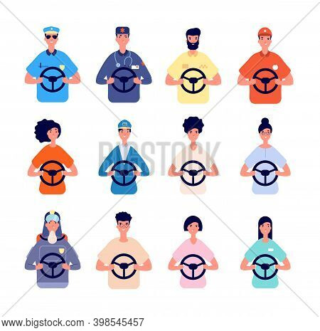 Driver Characters. People Driving Avatars, Logistic Truck Police Workers. Person In Car Taxi Or Bus,