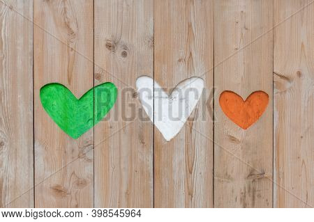 Republic Of Ireland Flag Colors Carved Into Wooden Love Hearts