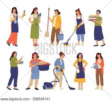 Housewives Mother Cooks, Housekeeper Woman Cleaning Home. Isolated Girl Cleans, Washing Female Domes