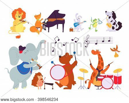 Music Animals. Musician Play Instruments, Forest Dwellers With Sax Tambourine Violin Drum. Cartoon L