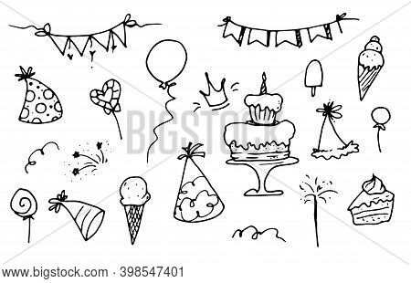 Elements Of The Birthday. A Hand-drawn Set With A Birthday Cake, Balloons, Flags, Ice Cream And A Ho