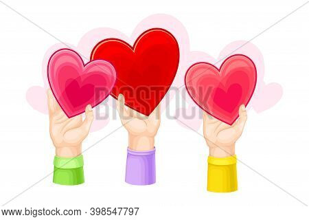 Red Fluttering Heart In Human Hands As Love And Devotion Symbol Vector Illustration
