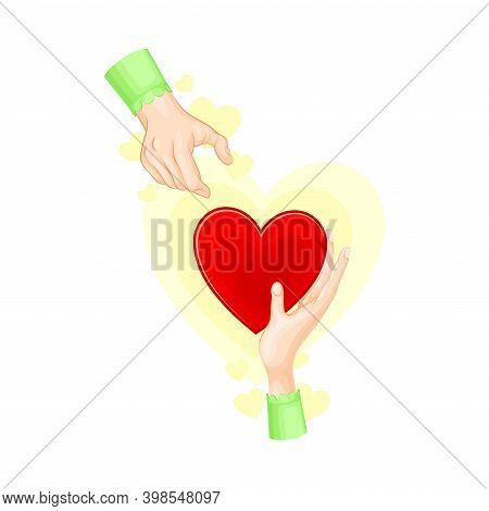 Hand Giving Red Heart To Another As Love And Fondness Symbol Vector Illustration