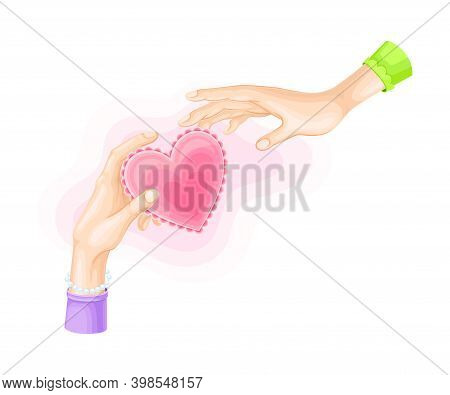 Hand Giving Pink Heart To Another As Love And Fondness Symbol Vector Illustration