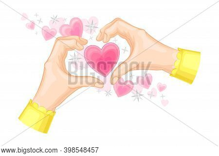 Hands Showing Heart Gesture With Fingers And Pink Fluttering Sweethearts As Romantic Feeling Symbol