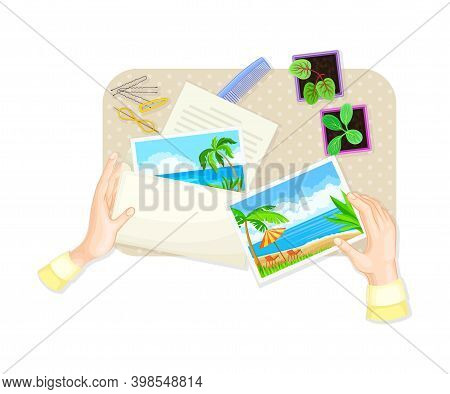 Human Hands Opening Envelope With Postal Card And Letter At Table Above View Vector Illustration