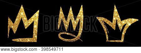 Set Gold Glitter Hand Drawn Crown. Sign King, Queen, Princess.