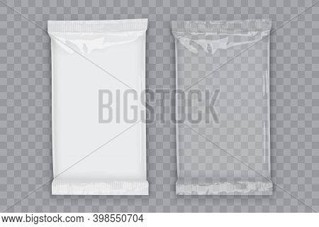 Paper White Flow Packaging With Transparent Shadows Isolated On Dark Background Mock Up Vector
