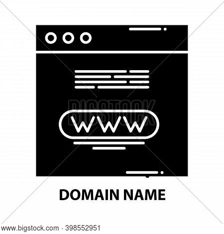 Domain Name Icon, Black Vector Sign With Editable Strokes, Concept Illustration