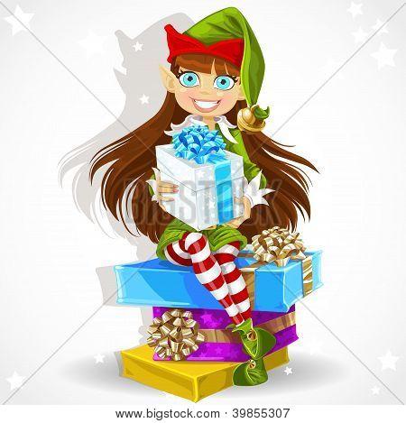 Cute girl Elf give christmas gift