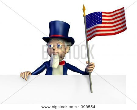 Uncle Sam With Edge Of Blank Sign