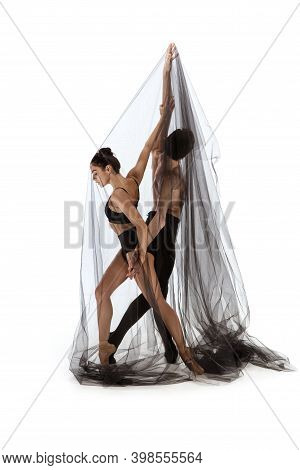 Romance. Graceful Classic Ballet Dancers Dancing Isolated On White Studio Background. Couple In Mini