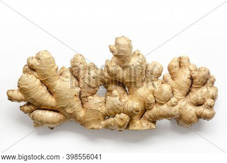Fresh Ginger Roots, From Above On White Background. Juicy And Fleshy Rhizomes Of Zingiber Officinale
