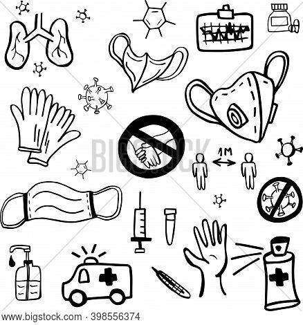 Set Drawn By Covid19. Doodle Set Of Symbols For The Disease Coronovirus Covid19. Vector Illustration