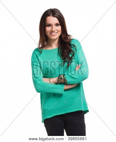 Beautiful woman wearing blue blouse with emotions