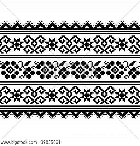 Ukrainian, Belarusian Folk Art Vector Seamless Pattern With Flowers, Long Cross-stitch Ornament Inpi