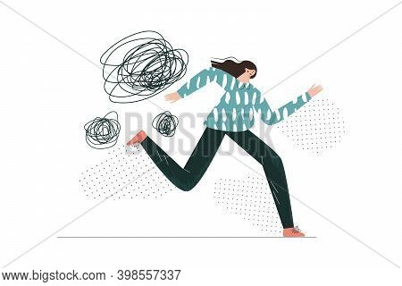 Panic Attack Fear Anxiety Scared Phobias Mental Disorder Flat Vector Abstract Illustration