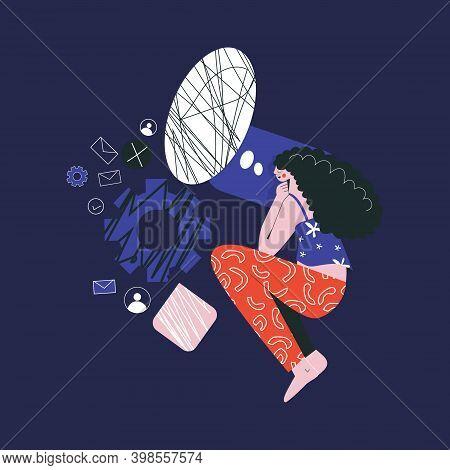 Bad Night Sleep Concept Woman Awake In Stress Thinking About Work Flat Vector Illustration