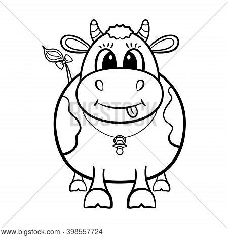 The Smiling Calf Is Isolated On The White Background. The Illustration For Coloring Book.