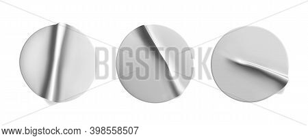 Silver Round Crumpled Stickers Mock Up Set. Adhesive Silver Foil Or Plastic Sticker Label With Wrink